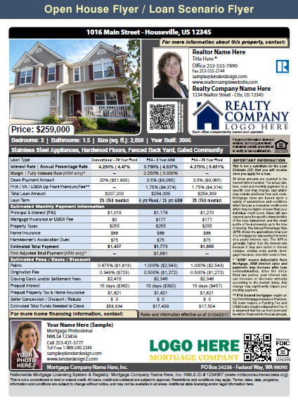 Mortgage Marketing Flyers, Loan Officer Marketing, Mortgage Flyers - open house flyer
