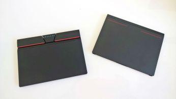 Nový 3+2 clickpad vlevo, původní TrackPad vpravo