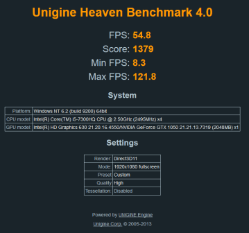 lenovo yoga 720-15 unigine heaven 4.0