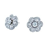 New 14k White Gold 0.90 CTW Diamond Earrings & Jackets