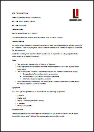 Event Management Job descriptions for event staff - job duty template