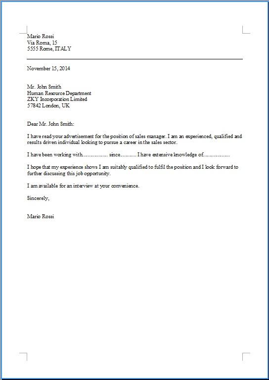 modello lettera di presentazione in inglese