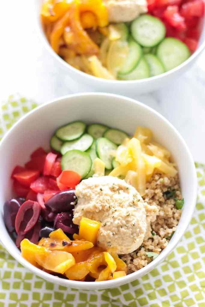 Mediterranean Quinoa Bowls with Hemp Heart Hummus - Le Petit Eats
