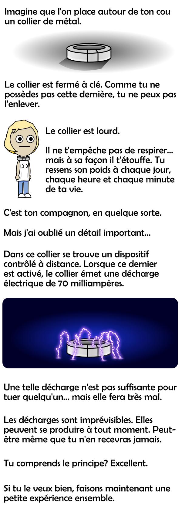 Collier de métal et décharge électrique