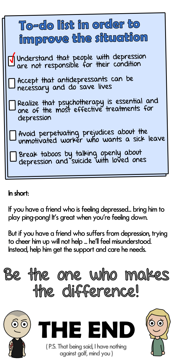 To-do list in order to improve the situation about depression and how to help out a friend