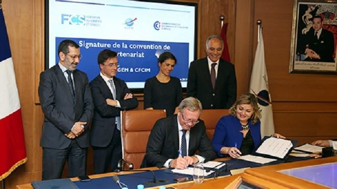 Casablanca  Signature d\u0027une convention entre la FCS et la CFCIM - Chambre De Commerce Francaise Maroc