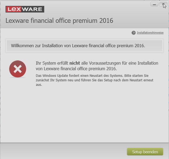 Lexware Update System erfuellt nicht aller Voraussetzung