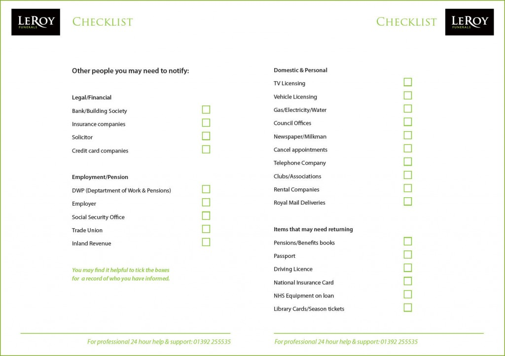 Funeral Checklist Template Uk | Finance Internship Tesco