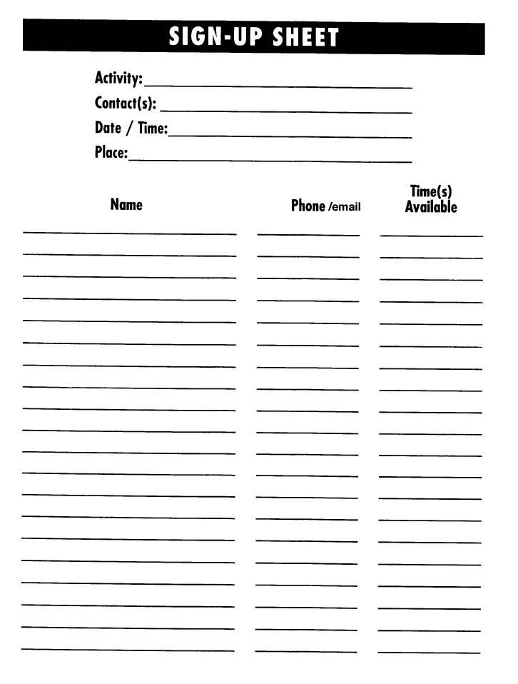 Sample Sign Up Sheet Template Sign Up Sheets - 60+ Free Word - sample sign up sheet