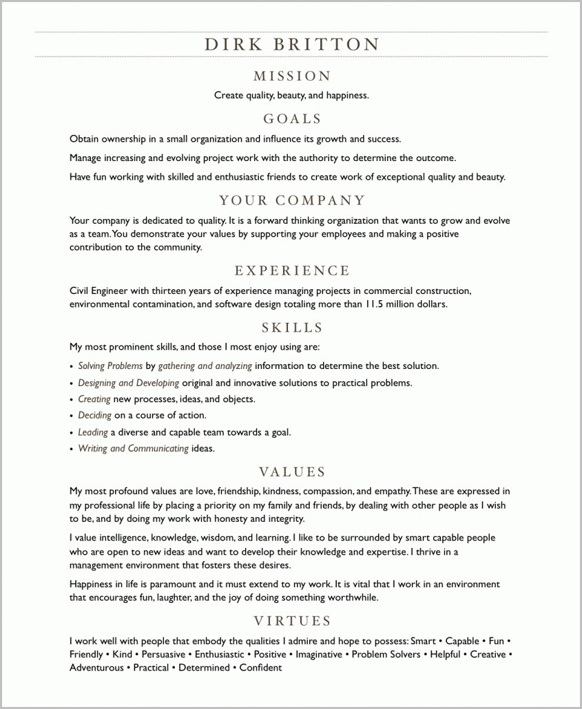 resume virtues