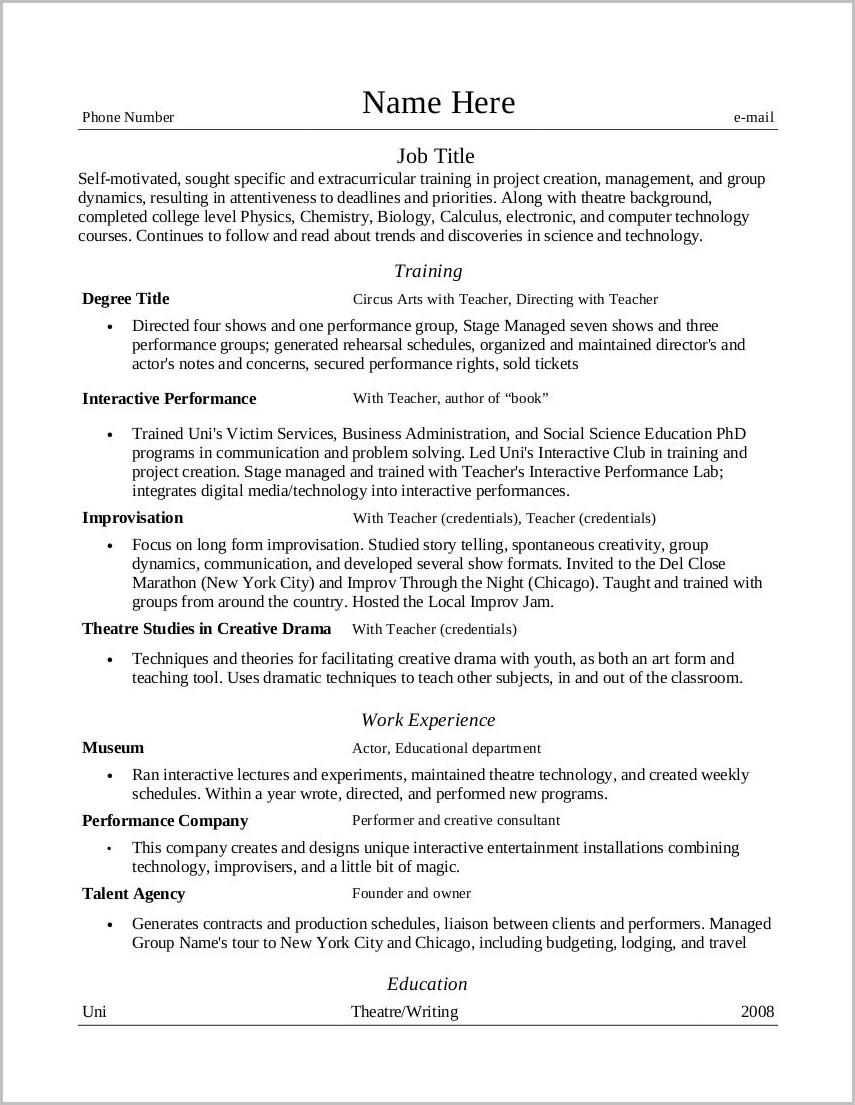 resume layout template knock em dead