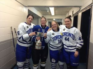 Kristy Zamora, Sami Jo Small, Lexie Hoffmeyer and Kori Cheverie with the Clarkson Cup