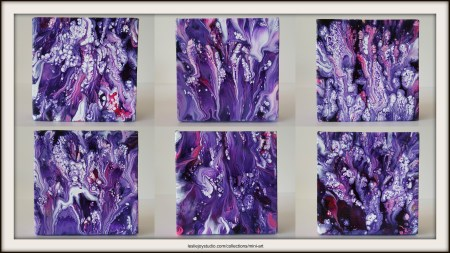 Purple Nos.2-7 abstract paintings by Leslie Joy