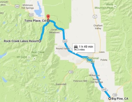 itinéraire rock creek lake californie
