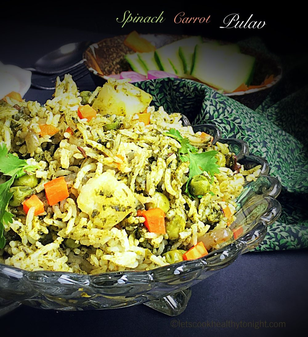 Spinach and Carrot Pulav