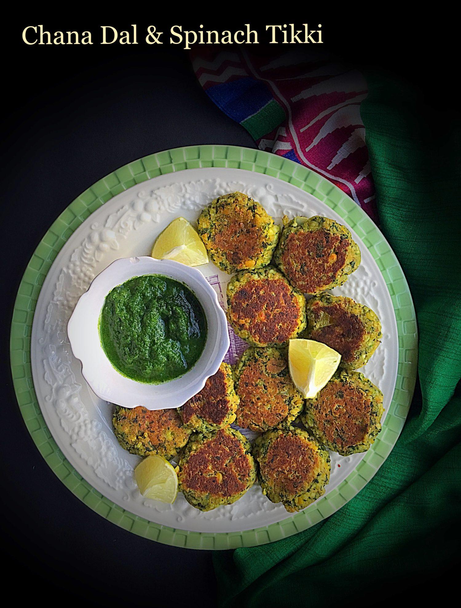 Chana Dal and Spinach Tikki