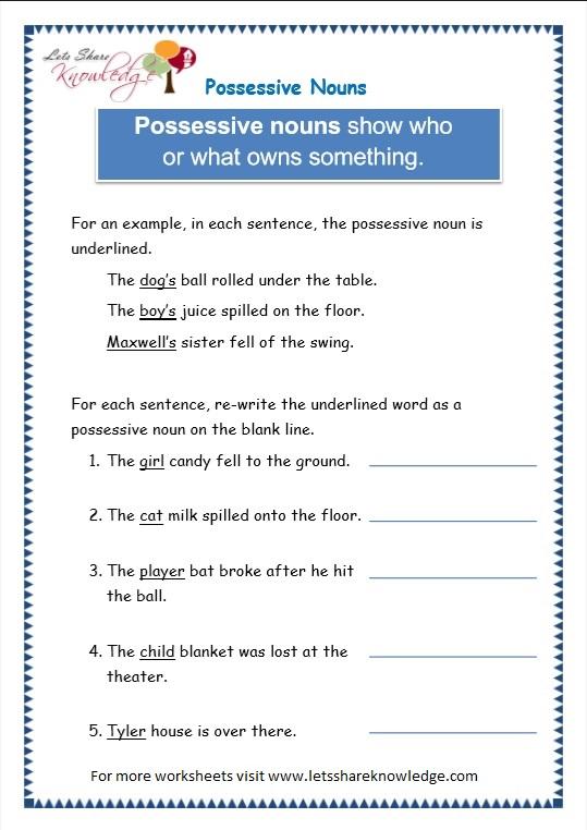 All Worksheets  Possessive Nouns Worksheets For Grade 4