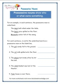 All Worksheets  Possessive Nouns Worksheets For Grade 4