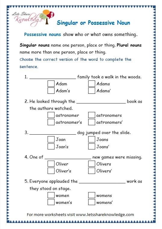 All Worksheets  Plural Possessive Nouns Worksheets