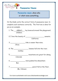 All Worksheets  Worksheets For Possessive Nouns