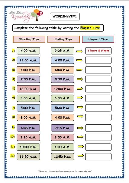 Grade 3 Maths Worksheets (86 Elapsed Time) - Lets Share Knowledge - time worksheets