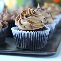 Dark Chocolate Cupcakes with Almond Chocolate Buttercream Frosting