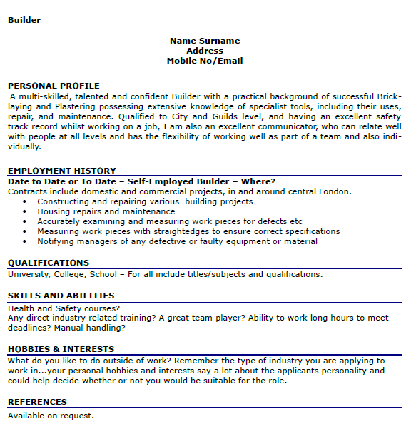 examples of interests to put on a resume