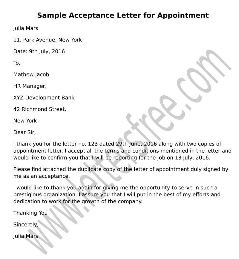 Acceptance Letter Sample - Job Acceptance Letter