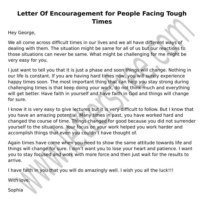 Letter of Encouragement For People Going Through Difficult Times - encouragement letter template
