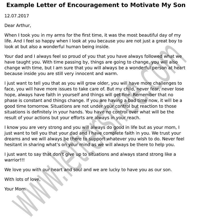 Sample Letter of Encouragement to Motivate My Son - encouragement letter template