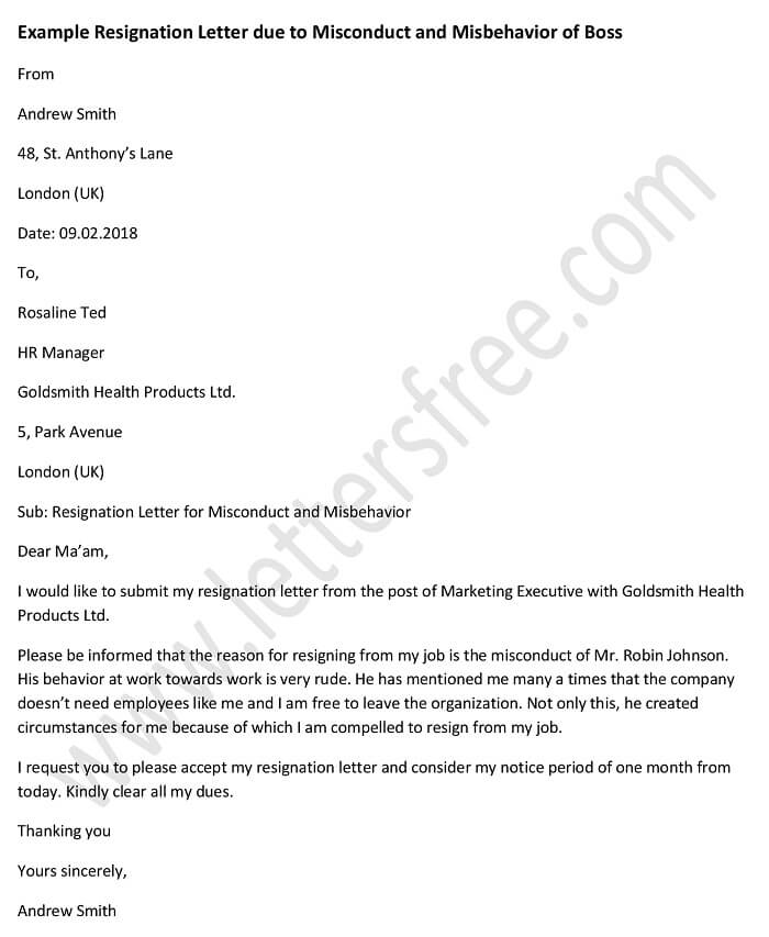 Example Resignation Letter Due to Misconduct and Misbehavior of Boss - writing a resignation letter
