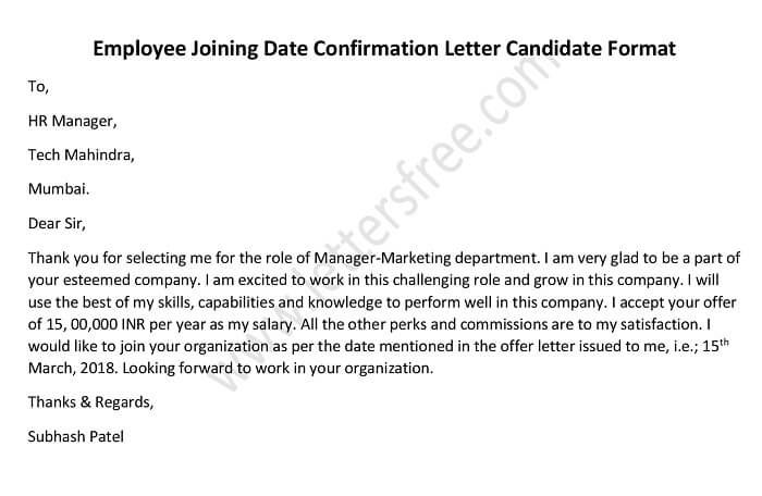 Employee Joining Date Confirmation Letter Candidate Format - Free - what are candidate endorsement letters