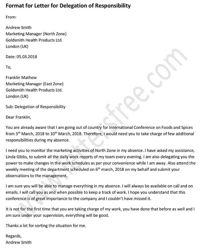 Sample Format for Letter for Delegation of Responsibility - Free Letters