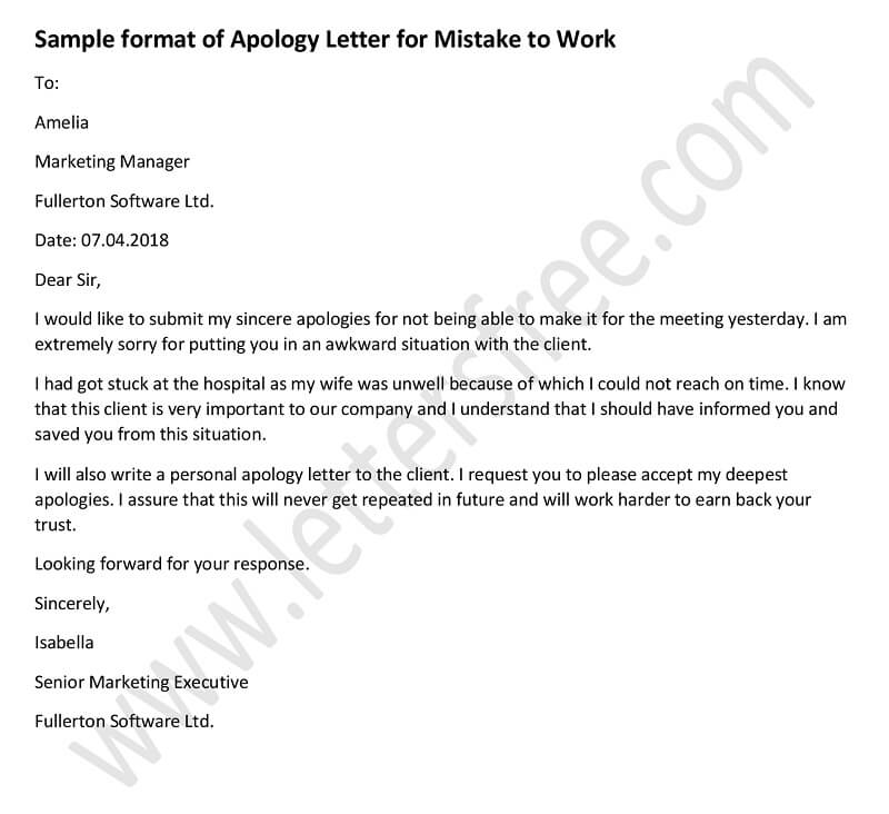 Apology Letter Archives - Free Letters - letter apologies
