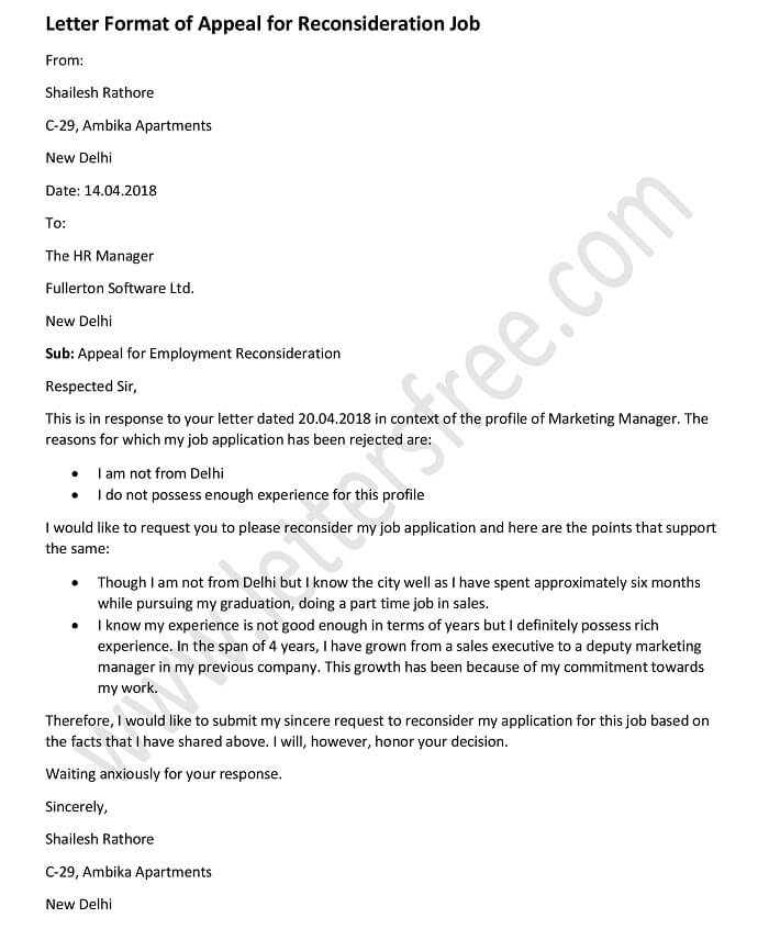 Appeal Letter Format for Reconsideration Job Appeal Letter Format