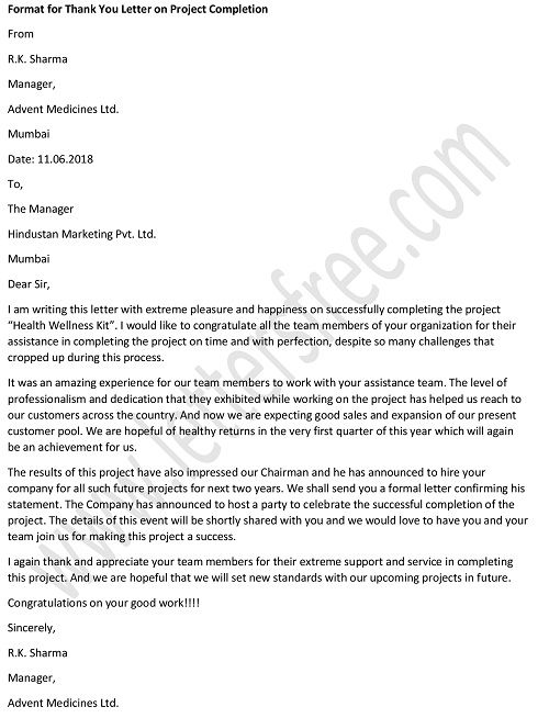 Thank You Letter to Client for Successful Completion of Project
