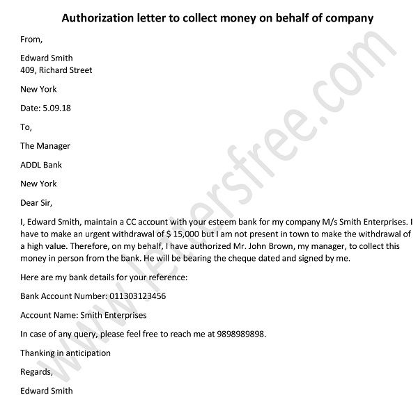 Authorization Letter to Collect Money on Behalf of Company