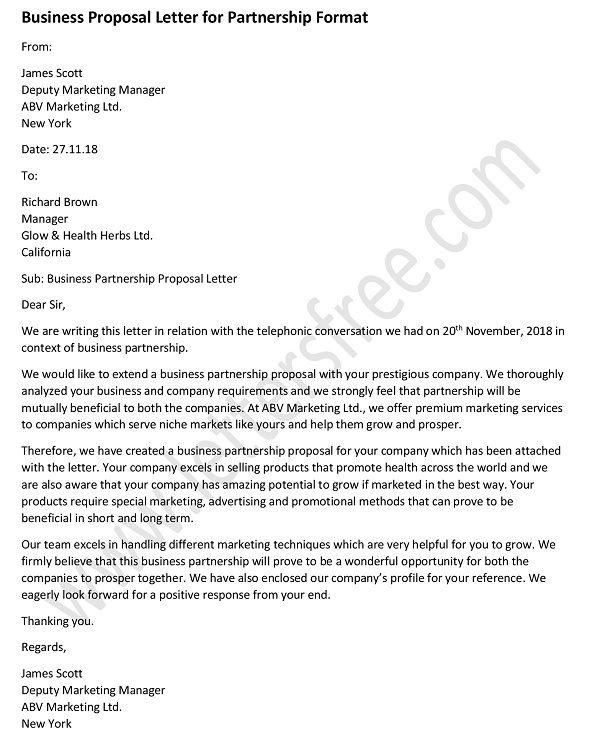 Business Proposal Letter for Partnership - Sample Business Format