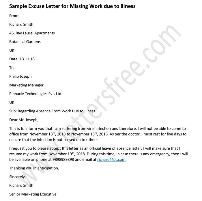 Sample Excuse Letter for Missing Work due to illness