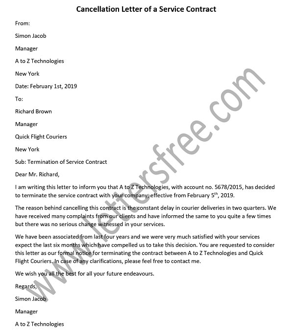 Cancellation Letter of a Service Contract Sample \u2013 How to Write