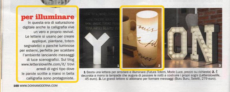 Magazine Donna Moderna - On parle de nous - Décoration, lettres, maison, calligraphie et lampes