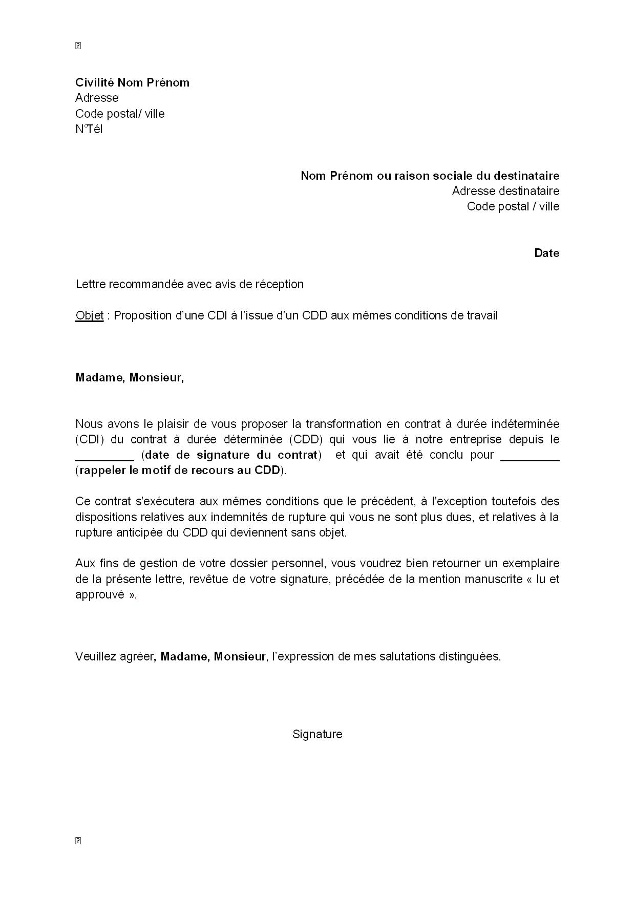 avis modele lettre de demande lettre type