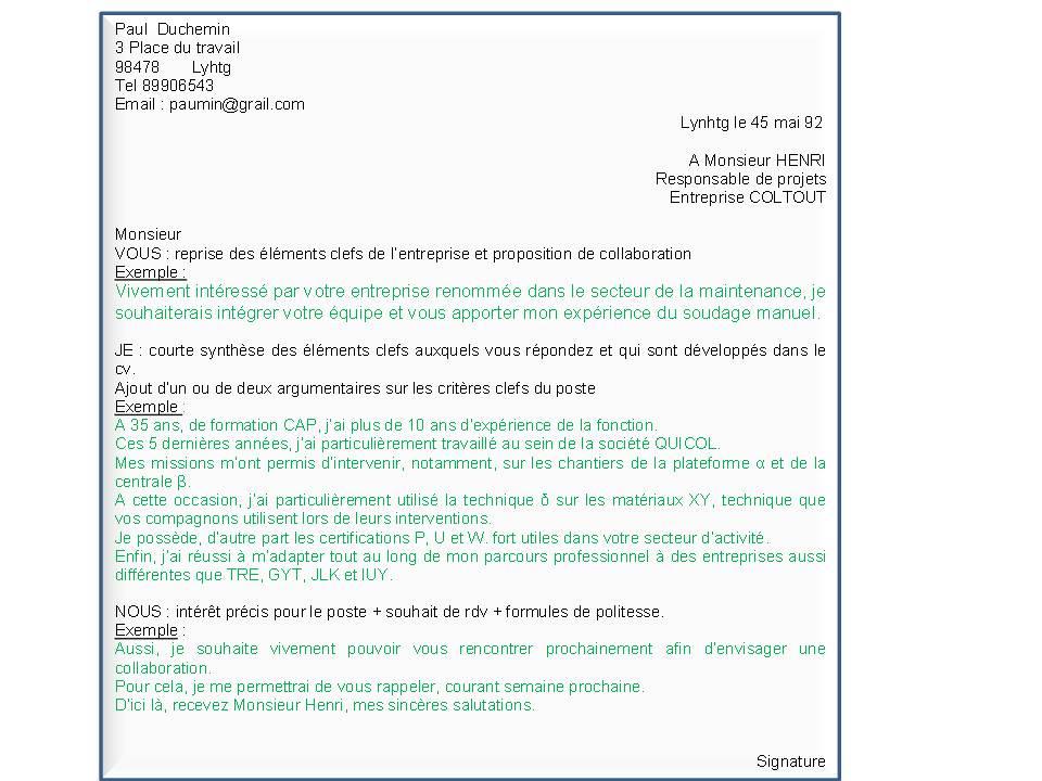 mail envoie cv offre emploi