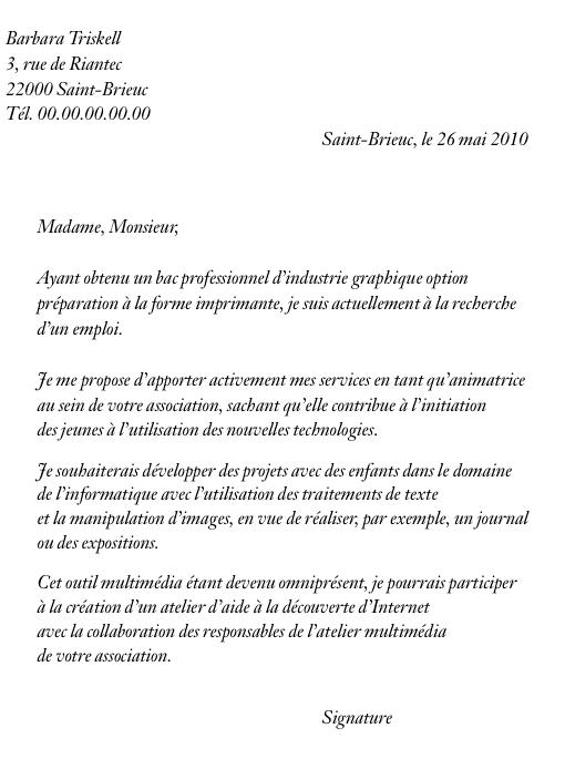 lettre de couverture cv
