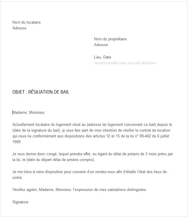 image lettre fin de bail locataire modele cv