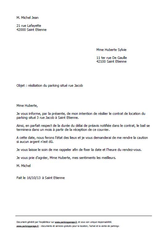 lettre resiliation logement mois