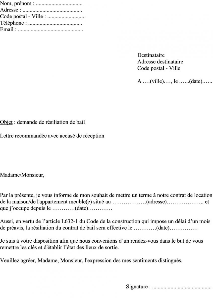 image lettre resiliation bail mois lettre de presentation