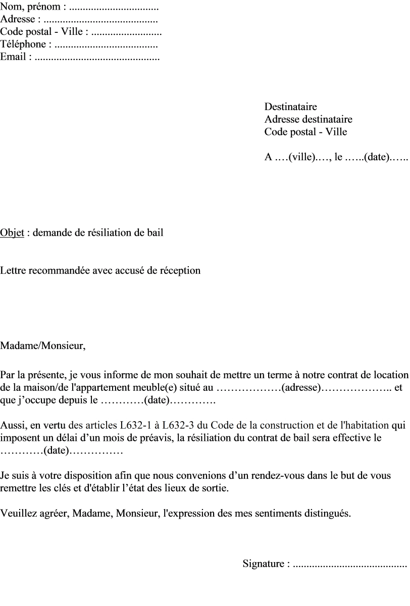 image exemple lettre resiliation bail mois modele cv