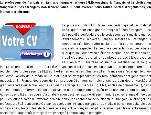 exemple cv professeur fle