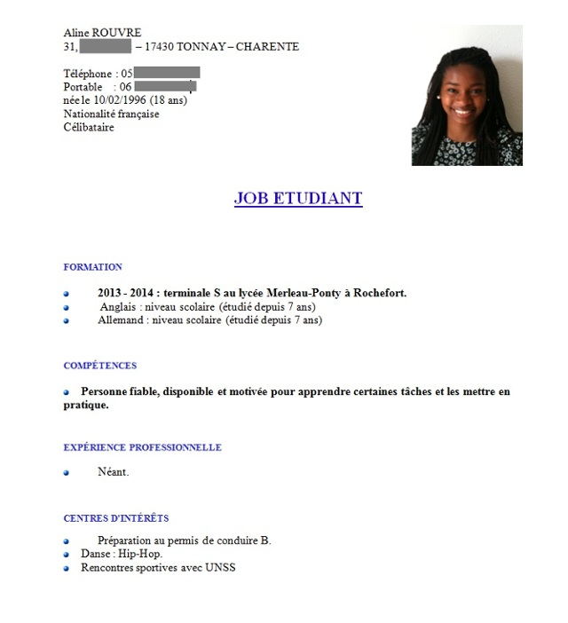 cv job d'ete mineur exemple